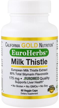 CGN, EuroHerbs, Milk Thistle Extract, Clinical Strength, 60 Veggie Caps by California Gold Nutrition, cgn milk thistle,cgn euroherbs HK 香港
