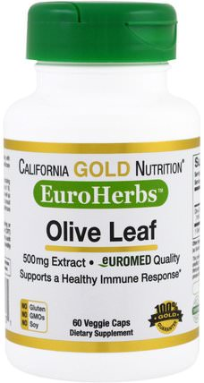 CGN, EuroHerbs, Olive Leaf Extract, 500 mg, 60 Veggie Caps by California Gold Nutrition, cgn euroherbs,健康,橄欖葉 HK 香港