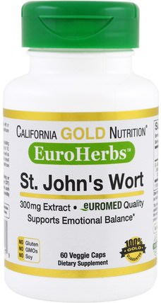 CGN, EuroHerbs St. Johns Wort Extract, 300 mg, 60 Veggie Caps by California Gold Nutrition, cgn euroherbs,健康,抗壓力 HK 香港