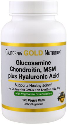 CGN, Vegetarian Glucosamine, Chondroitin, MSM Plus Hyaluronic Acid, 120 Veggie Caps by California Gold Nutrition, 健康,骨骼,骨質疏鬆症,cgn氨基葡萄糖複合物,補充劑,氨基葡萄糖 HK 香港