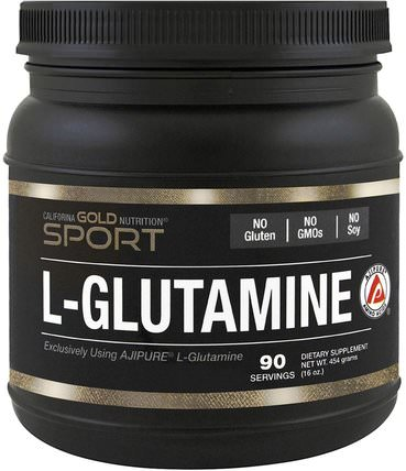 CGN, L-Glutamine, AjiPure, Pure Powder, Gluten Free, 16 oz (454 g) by California Gold Nutrition, 補充劑,氨基酸,cgn l-谷氨酰胺,l谷氨酰胺 HK 香港