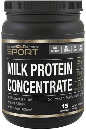 CGN, Milk Protein Concentrate, Ultra-Low Lactose, Gluten Free, 16 oz (454 g) by California Gold Nutrition, cgn純運動,cgn蛋白質 HK 香港