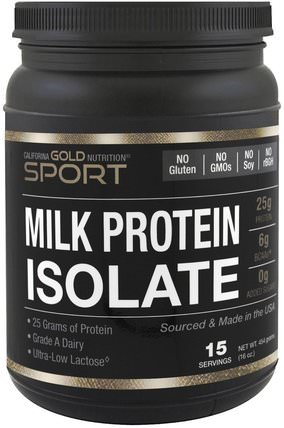 CGN, Milk Protein Isolate, Ultra-Low Lactose, Gluten Free, 16 oz (454 g) by California Gold Nutrition, cgn純運動,cgn蛋白質 HK 香港