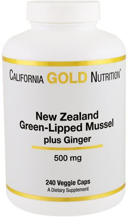 CGN, New Zealand, Green-Lipped Mussel Plus Ginger, 500 mg, 240 Veggie Caps by California Gold Nutrition, cgn綠唇貽貝,補品,綠唇貽貝 HK 香港
