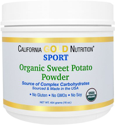 CGN, Organic Sweet Potato Powder, Complex Carbs, Gluten Free, 16 oz (454 g) by California Gold Nutrition, cgn純運動,運動,複合碳水化合物 HK 香港