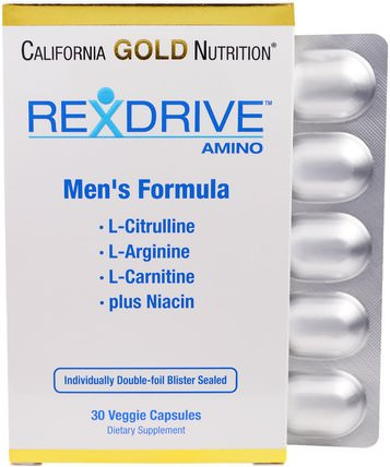 California Gold Nutrition, CGN, Rexdrive Amino, Mens Formula, 30 Veggie Caps 維生素,男性多種維生素,cgn rexdrive男士