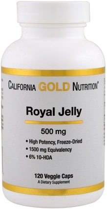 CGN, Royal Jelly, 500 mg, 120 Veggie Caps by California Gold Nutrition, cgn蜂王漿,補品,蜂王漿 HK 香港