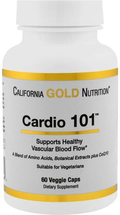 CGN, Targeted Support, Cardio 101, 60 Veggie Capsules by California Gold Nutrition, cgn條件101,補充劑,左旋肉鹼 HK 香港