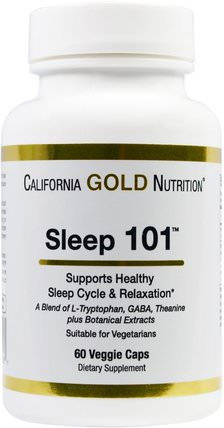CGN, Targeted Support, Sleep 101, 60 Veggie Capsules by California Gold Nutrition, cgn條件101,補充劑,l色氨酸 HK 香港