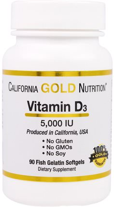 CGN, Vitamin D3, 5.000 IU, 90 Fish Gelatin Softgels by California Gold Nutrition, 維生素,維生素D3 HK 香港