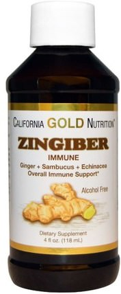 CGN, Zingiber Immune, Ginger + Sambucus + Echinacea, Alcohol Free, 4 fl oz (118 ml) by California Gold Nutrition, 免疫系統,健康,免疫系統 HK 香港