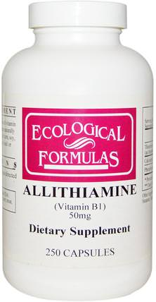 Ecological Formulas, Allithiamine (Vitamin B1), 50 mg, 250 Capsules by Cardiovascular Research Ltd., 維生素,維生素b,維生素b1 - 硫胺素 HK 香港
