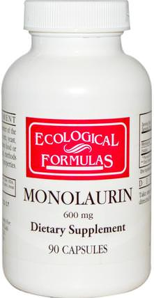 Ecological Formulas, Monolaurin, 600 mg, 90 Capsules by Cardiovascular Research Ltd., 補充劑,efa omega 3 6 9(epa dha) HK 香港