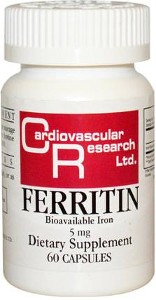 Ferritin, 5 mg, 60 Capsules by Cardiovascular Research Ltd., 補品,礦物質,鐵 HK 香港