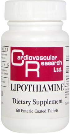 Lipothiamine, 60 Enteric Coated Tablets by Cardiovascular Research Ltd., 維生素,維生素b,維生素b1 - 硫胺素 HK 香港