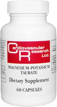 Magnesium-Potassium Taurate, 60 Capsules by Cardiovascular Research Ltd., 補品,礦物質,鎂鉀 HK 香港