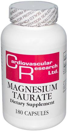 Magnesium Taurate, 180 Capsules by Cardiovascular Research Ltd., 補品,礦物質,鎂 HK 香港
