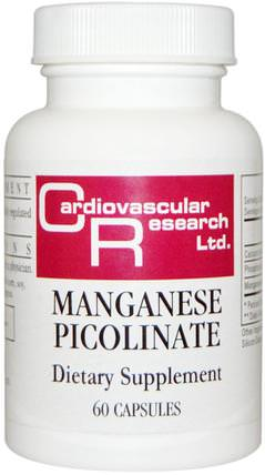 Manganese Picolinate, 60 Capsules by Cardiovascular Research Ltd., 補充劑,礦物質,錳 HK 香港