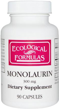 Monolaurin, 300 mg, 90 Capsules by Cardiovascular Research Ltd., 補充劑,efa omega 3 6 9(epa dha),健康 HK 香港