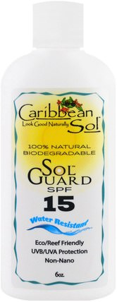 Sol Guard SPF 15, Water Resistant, 6 oz by Caribbean Solutions, 洗澡,美容,防曬霜,spf 05-25 HK 香港