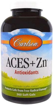 Aces + Zn, 360 Soft Gels by Carlson Labs, 補充劑,抗氧化劑,維生素 HK 香港