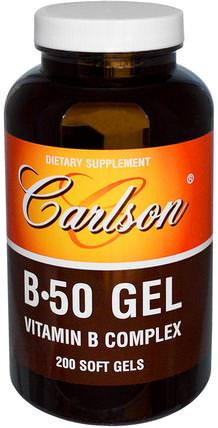 B 50 Gel, Vitamin B Complex, 200 Soft Gels by Carlson Labs, 維生素,維生素b複合物 HK 香港