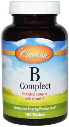 B Compleet, 180 Tablets by Carlson Labs, 維生素,維生素b複合物 HK 香港