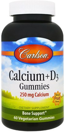 Calcium + D3 Gummies, Natural Fruit Flavors, 60 Veggie Gummies by Carlson Labs, 補充劑,礦物質,鈣維生素D,gummies HK 香港