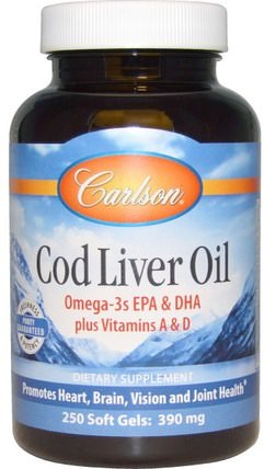 Cod Liver Oil, 390 mg, 250 Soft Gels by Carlson Labs, 補充劑,efa omega 3 6 9(epa dha),魚油,魚肝油軟膠囊 HK 香港