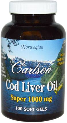 Cod Liver Oil Gems, 1000 mg, 100 Soft Gels by Carlson Labs, 補充劑,efa omega 3 6 9(epa dha),魚油,魚肝油軟膠囊 HK 香港