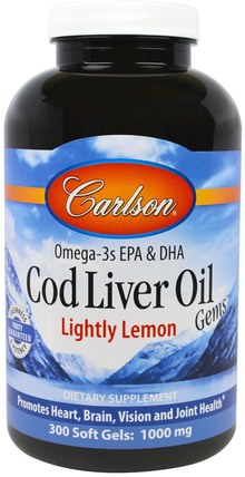 Cod Liver Oil Gems, Lightly Lemon, 1000 mg, 300 Soft Gels by Carlson Labs, 補充劑,efa omega 3 6 9(epa dha),魚油 HK 香港