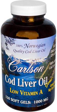 Cod Liver Oil Gems, Low Vitamin A, Natural Lemon Flavor, 1.000 mg, 150 Soft Gels by Carlson Labs, 補充劑,efa omega 3 6 9(epa dha),魚油,魚肝油軟膠囊 HK 香港