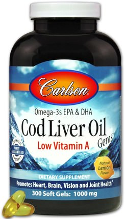 Cod Liver Oil Gems, Low Vitamin A, Natural Lemon Flavor, 1.000 mg, 300 Soft Gels by Carlson Labs, 補充劑,efa omega 3 6 9(epa dha),魚油,魚肝油軟膠囊 HK 香港