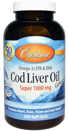 Cod Liver Oil Gems, Super, 1000 mg, 250 Soft Gels by Carlson Labs, 補充劑,efa omega 3 6 9(epa dha),魚油,魚肝油軟膠囊 HK 香港