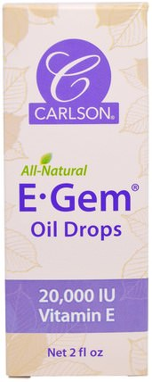 E-Gem Oil Drops, 2 fl oz by Carlson Labs, 健康,皮膚,維生素E油霜 HK 香港
