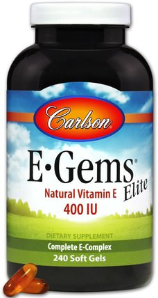 E-Gems Elite, Natural Vitamin E, 400 IU, 240 Soft Gels by Carlson Labs, 維生素,維生素E,100%天然維生素e HK 香港