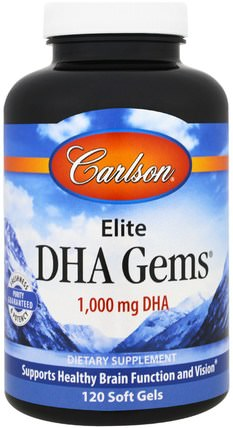 Elite DHA Gems, 1.000 mg, 120 Softgels by Carlson Labs, 補充劑,efa omega 3 6 9(epa dha),dha HK 香港