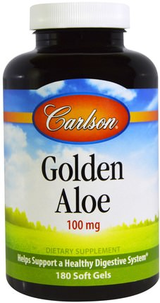 Golden Aloe, 100 mg, 180 Soft Gels by Carlson Labs, 補充劑,蘆薈,蘆薈帽凝膠帽 HK 香港