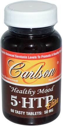 Healthy Mood, 5-HTP Elite, Natural Raspberry Flavor, 50 mg, 60 Tasty Tablets by Carlson Labs, 補品,5-htp,健康,情緒 HK 香港
