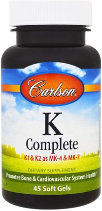 K Complete, 45 Softgels by Carlson Labs, 維生素,維生素K HK 香港