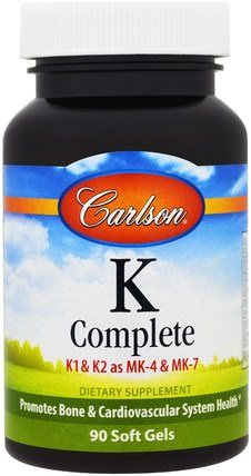 K-Complete, 90 Softgels by Carlson Labs, 維生素,維生素K HK 香港