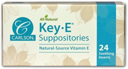 Key E Suppositories, Natural Vitamin E, 24 Soothing Inserts by Carlson Labs, 健康,痔瘡,栓劑 HK 香港