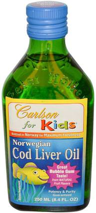 Kids, Norwegian Cod Liver Oil, Bubble Gum, 8.4 fl oz (250 ml) by Carlson Labs, 補充劑,efa omega 3 6 9(epa dha),魚油,魚肝油液 HK 香港