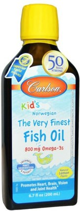 Kids, The Very Finest Fish Oil, Natural Lemon Flavor, 6.7 fl oz (200 ml) by Carlson Labs, 補充劑,efa omega 3 6 9(epa dha),魚油,魚油液體 HK 香港