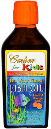 Kids, The Very Finest Fish Oil, Natural Orange Flavor, 6.7 fl oz (200 ml) by Carlson Labs, 補充劑,efa omega 3 6 9(epa dha),魚油,魚油液體 HK 香港