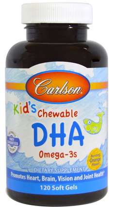 Kids Chewable DHA, Bursting Orange Flavor, 120 Soft Gels by Carlson Labs, 補充劑,efa omega 3 6 9(epa dha),dha,魚油 HK 香港