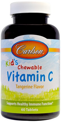 Kids, Chewable Vitamin C, Tangerine Flavor, 60 Tablets by Carlson Labs, 維生素,維生素C咀嚼 HK 香港