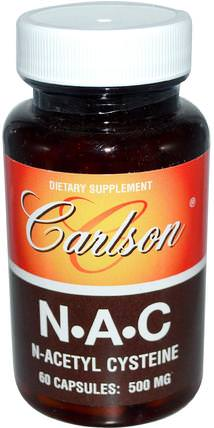 N-A-C, 500 mg, 60 Capsules by Carlson Labs, 補充劑,氨基酸,nac(n乙酰半胱氨酸) HK 香港