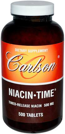 Niacin-Time, 500 mg, 500 Tablets by Carlson Labs, 維生素,維生素B,維生素b3,菸酸沖洗 HK 香港
