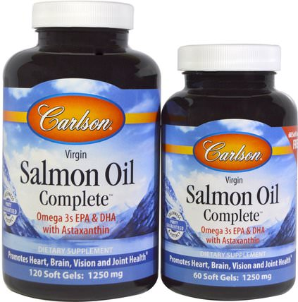 Norwegian Salmon Oil Complete, 120 Soft Gels + 60 Free Soft Gels by Carlson Labs, 補充劑,efa omega 3 6 9(epa dha),鮭魚油 HK 香港